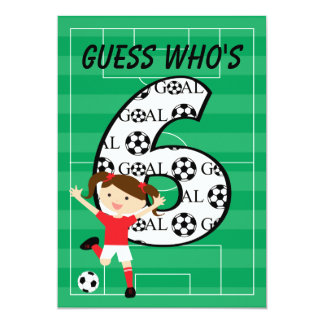 6th Birthday Party Red and White Soccer Girl 5x7 Paper Invitation Card