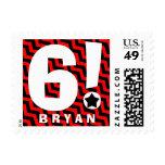 6th Birthday Party RED BLACK Chevrons V5 Postage Stamp