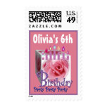 6th Birthday Party Stamp Pink Rose & Candles