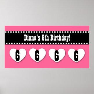 6th Birthday Pink Black Hearts Banner Custom V05 Poster