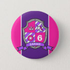 6th Birthday pink purple knights princess age pin