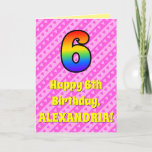 [ Thumbnail: 6th Birthday: Pink Stripes & Hearts, Rainbow # 6 Card ]