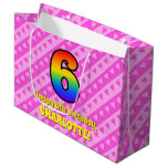 [ Thumbnail: 6th Birthday: Pink Stripes & Hearts, Rainbow # 6 Gift Bag ]
