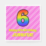 [ Thumbnail: 6th Birthday: Pink Stripes & Hearts, Rainbow # 6 Napkins ]