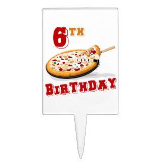 6th Birthday Pizza Party Cake Picks