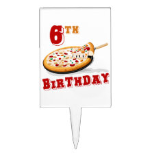 6th Birthday Pizza Party Cake Topper