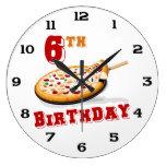 6th Birthday Pizza Party Clocks