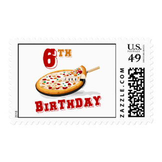 6th Birthday Pizza Party Postage