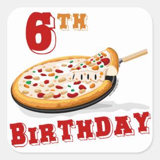 6th Birthday Pizza Party Sticker