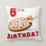 6th Birthday Pizza Party Throw Pillows