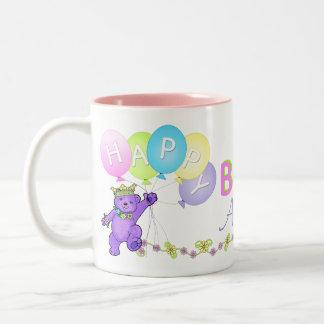 6th Birthday Princess Bear Happy Two-Tone Coffee Mug