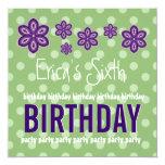 6th Birthday Purple Flowers Polka Dots Custom V07 Invitation