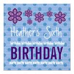 6th Birthday Purple Flowers Polka Dots Custom V10 Custom Announcement