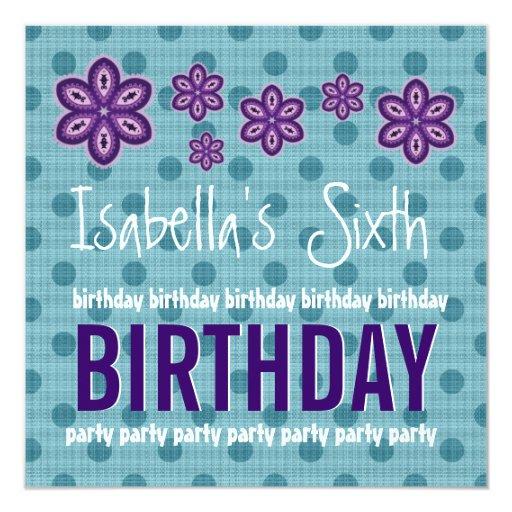 6th Birthday Purple Flowers Polka Dots Custom V12 Personalized Announcement