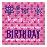 6th Birthday Purple Flowers Polka Dots Custom V12 Announcements