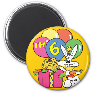 6th Birthday Rabbit Magnets