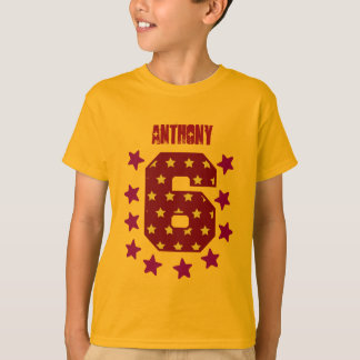 6th Birthday Red and Gold Stars Big Number V09 T-Shirt