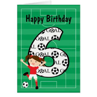 6th Birthday Red and White Soccer Girl 1 Card