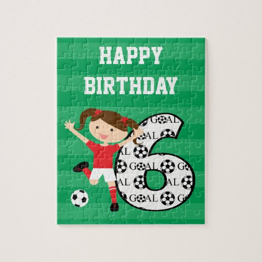 6th Birthday Red and White Soccer Girl 1 Jigsaw Puzzle