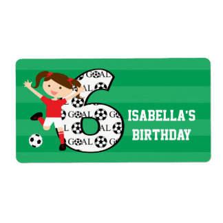 6th Birthday Red and White Soccer Girl 1 Label