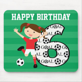6th Birthday Red and White Soccer Girl 1 Mouse Pad