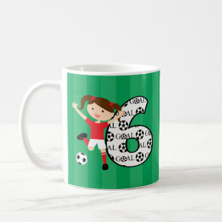 6th Birthday Red and White Soccer Girl 1 Classic White Coffee Mug