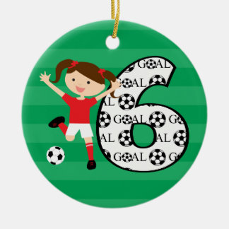 6th Birthday Red and White Soccer Girl 1 Double-Sided Ceramic Round Christmas Ornament
