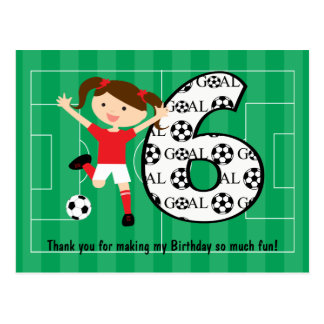6th Birthday Red and White Soccer Girl 1 Postcard