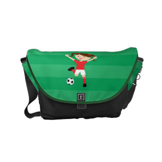 6th Birthday Red and White Soccer Girl 1 Small Messenger Bag