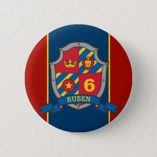 6th Birthday red blue knights shield age pin