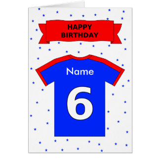 6th birthday red blue t-shirt add a name greeting card