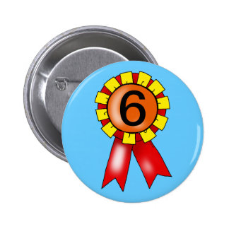 6th birthday red/yellow rosette buttons