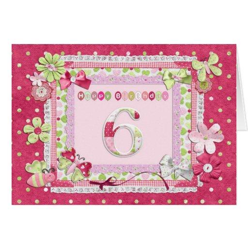 6th birthday scrapbooking style card