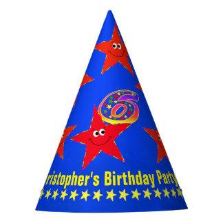 6th Birthday Smiley Stars Celebration Party Hat