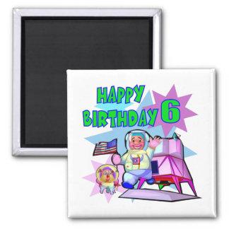 6th Birthday Space Birthday Magnets