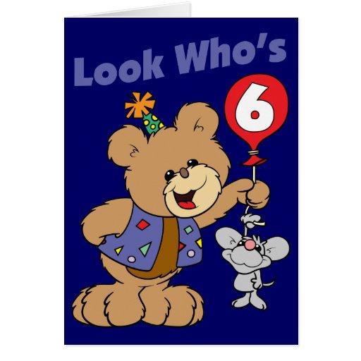 6th Birthday Teddy Bear Greeting Cards