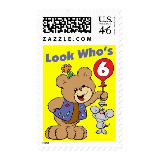 6th Birthday Teddy Bear Stamps