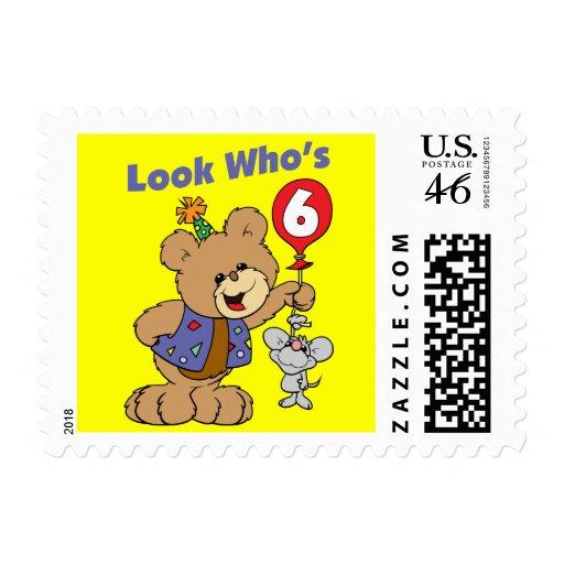 6th Birthday Teddy Bear Postage Stamp
