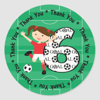 6th Birthday Thank You Red and White Soccer Girl 1 Classic Round Sticker