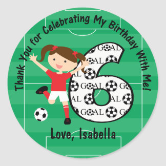 6th Birthday Thank You Red and White Soccer Girl Sticker