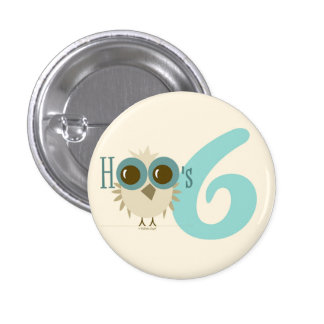 6th Birthday Turquoise Owl Button Party Favor