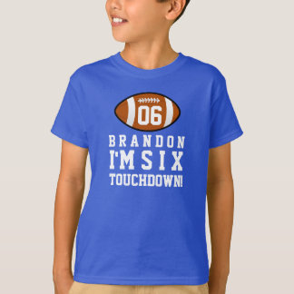 6th Birthday with Football Custom Name 4 T-Shirt