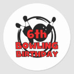 6th Bowling Birthday Stickers