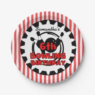 6th Bowling Sports Birthday Paper Plates