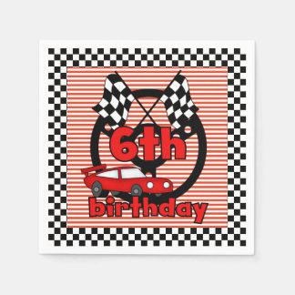 6th Car Racing Birthday Paper Napkins