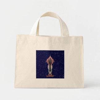 6th Dimension Rocket Ship Cotton Tiny Tote Bag