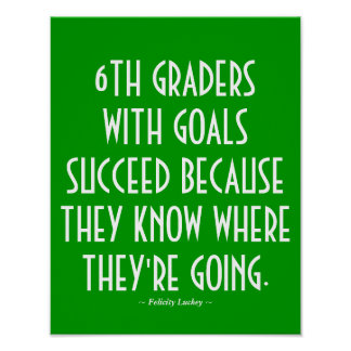 6th Grade Classroom Poster in Green