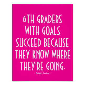 6th Grade Classroom Poster in Pink