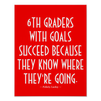 6th Grade Classroom Poster in Red