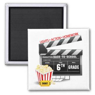 6th Grade Movie Clapboard 2 Inch Square Magnet